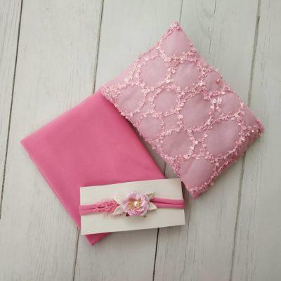 6_pink_lace_pillow_wrap_tieback_setfor_newborn_baby
