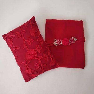 9_red_wine_lace_pillow_wrap_tieback_setfor_newborn_baby